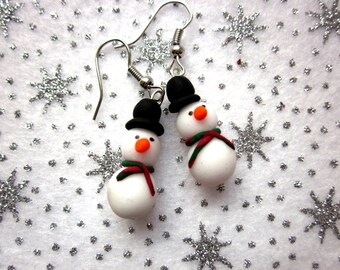 Christmas Snowman Earrings, Festive Earrings, Christmas Jewellery, Polymer Clay Earrings, Xmas Jewellery, Cute Snowman Jewellery