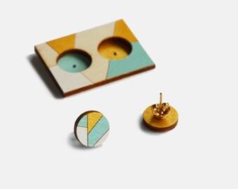 Delicate stud earrings, Geometric Wooden Lasercut Round Stud Earrings, Hoop earrings Minimalist earrings, Geometric earrings, Delicate studs