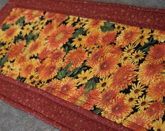 Brown Orange Yellow  Fall Floral 12  X 33 Table Runner Topper