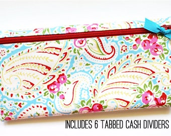 Envelope system cash budget wallet with 6 tabbed dividers | paisley floral laminated cotton