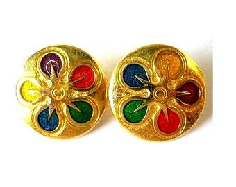 6 Vintage metal buttons flower ornament 15mm