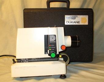 Filmstrip Projector Dukane 750 35mm Model 28A75 With Protective Hard Case Vintage