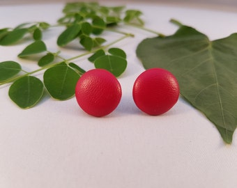 Red Faux Leather Covered Button Stud Earrings - Hypo-Allergenic Surgical Steel