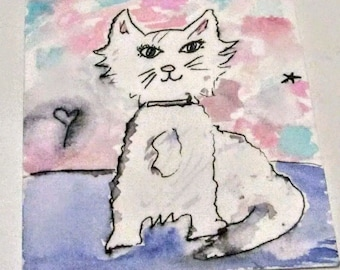 ATC Aceo card cat painting
