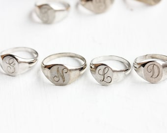 Signet Ring Sterling Silver, Monogram Ring Silver, Initial Jewelry Silver, Vintage Signet Ring, Silver Pinky Ring, Monogram Jewelry Silver