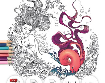Adult Coloring Page Fantasy Mermaid Line Art