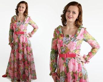 70s California Calliope Dress, Maxi, Prom, Vintage Wedding, Pink, Floral Print