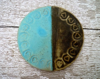 Ceramic coaster, ceramic stoneware coaster, lovehearts, turquoise, black, home decor