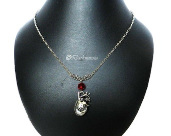 Necklace, human heart, pendant, pearl, red, crystal, anatomical heart, anatomy, organ, goth, gothic