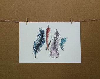 Watercolor/Ink-Feathers (Floating)