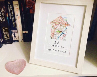 New Home Heart Map Frame