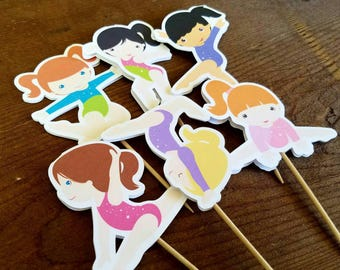 Gymnastics Friends- Set of 24 Double Sided Assorted Gymnast Cupcake Toppers by The Birthday House