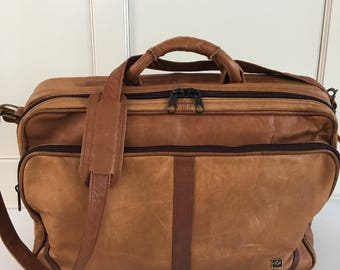 Vintage 80's leather travel bag , leather carry all, leather briefcase