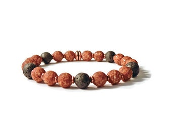 Aromatherapy Natural Lava Stone and Czech Glass Stretch Bracelet, Essential Oil Diffuser Jewelry