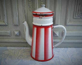"Vintage enamel French coffee pot, dripper filter, red and white striped  ""Lustucru"" 1930's, stripes enamelware, antique country kitchen"
