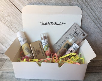 Mystery Grab Bag / Mothers Day Gift Five All Natural Lip Balms Lip Balm Grab Bag / Cosmetic Mystery Box / Make Up Gift Set