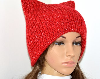 Cat Beanie,Pussyhat,Pink cat hat,Womens cat hat,Pink cat beanie,Pink pussyhat,Cat lovers gift,Winter hat,Pink Pussy hat ,valentines gift