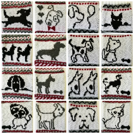 Dog Fair Isle Knit Charts of 16 Christmas Dogs with Charts and
