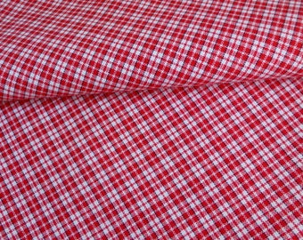 Red plaid fabric on white 100% cotton