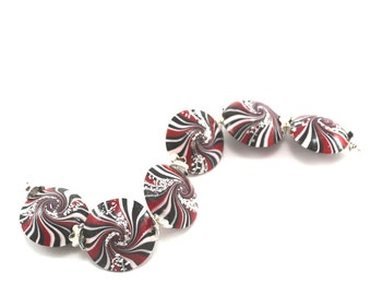 Swirl lentil artisan jewelry round beads, Set of 6 handmade polymer clay in black white and red with tiny silver sparkles, elegant beads