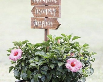 Directional Wedding Signs, Wedding Arrow Sign, Receptions Sign, Ceremony Sign, Bar Sign, Rustic Wedding Sign, Pointing Signs, Guide Signs
