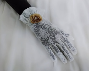 White embroidery flower gloves, Short gloves, Wedding gloves, Bridal gloves, Evening gloves, Lace gloves, Formal gloves, Evening gloves