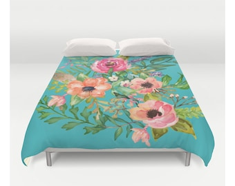 Pastel Watercolor Floral Print with Blue Background - Duvet Cover - Duvet Covers, Bedding, Bedspreads