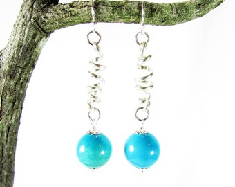 Sterling Silver & Turquoise Earring, Natural Turquoise, Long Dangle, Signature Earring