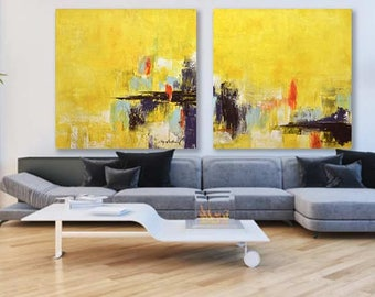 Two Piece Original Abstract Art Yellow Large Modern Diptych Painting Contemporary Art Oil Painting Set Of 2 Piece Wall Art - Sky Whitman