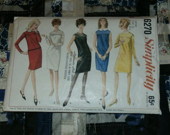 "Vintage 1965 Simplicity Dress Pattern 6270 Size 11 Bust 31 1/2"", Waist 24 1/2"", Hip 33 1/2 """