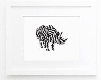rhino print black and white wall art geometric animal rhinoceros printable minimalist wall decor digital print instant download pdf jpg