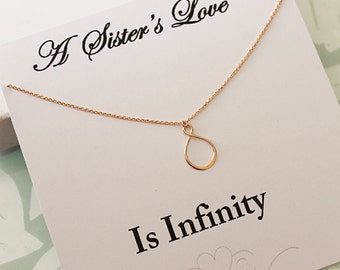 Rose Gold Infinity Necklace, Gift for sister, Love Necklace, Eternity Necklace, Best Friend gift, Message Card Jewelry