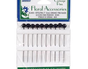Corsage Pins - 2in. - 10/Pkg - Black (darvl3051)