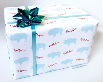 Buffalove Buffalo Red and Blue Wrapping Paper | Buffalo Themed Wrapping Paper | Buffalo Gift Wrap | Buffalo Gift Wrapping