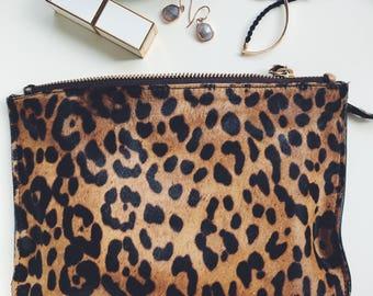 Leopard calf hair pouch