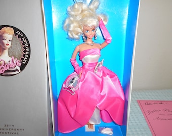 SALE! Barbie 35th Anniversary Festival Doll/Stunning in Hot Pink/Limited Edition/Signature of Ruth Handler/COA/Festival Bag & Brochure!1994