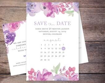 Floral Save the Date, Flowers, Purple, Lilac, Watercolor Flower, Save-the-Date Card, Postcard, DIY, Printable Digital File – Sadie