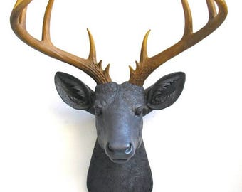 CHARCOAL w/ Natural-looking antlers XL Faux Taxidermy Deer Head wall mount wall hanging Stag Head / faux taxidermie / farm house decor