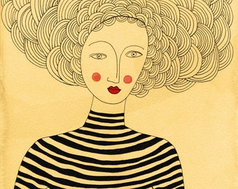 French Stripes, Art Print, French Inspired, Francophile, Stripes, French Woman, Big Hair,