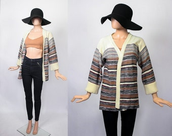 Vintage 70s Hippie Cardigan / 1970s Knit Slouchy Sweater / South Western Boho / Tribal Aztec / Space Dyed Cardi / Bohemian / Small / Medium