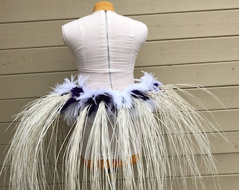 Tahitian dance costume hipbelt, hip hei, ready to ship. Niau, white and purple