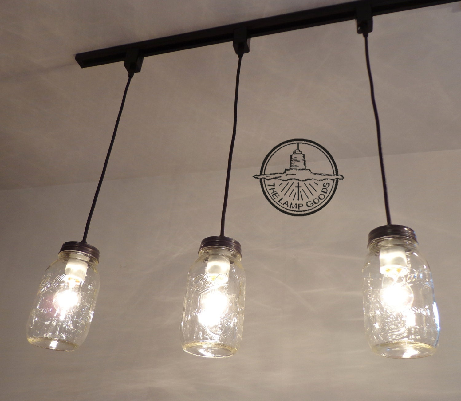 Mason jar track lighting pendant new quart chandelier zoom aloadofball Gallery