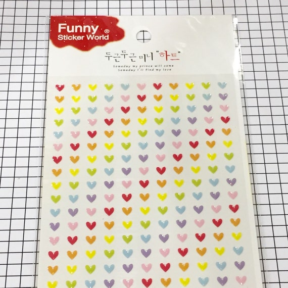 Tiny heart stickers 1 sheet small stickers cute stickers small heart stickers in assorted color 150x95mm from xsugarhuix on etsy studio
