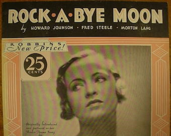 Sheet Music Rock A Bye Moon Sheet Antique Vintage Ethel Shutta Cover