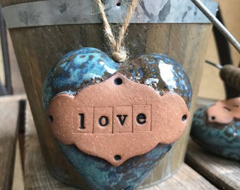 Ceramic Heart Rattle Ornament | Rustic Blue Stoneware Heart | Pottery Heart Ornament | 3D Heart rattle | Shower favor | Housewarming Gift