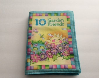 10 Garden Friends Cloth Book - Baby's First Book, fully washable!