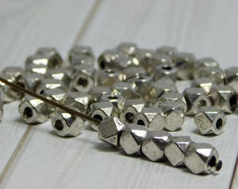 50pcs - 4mm Spacer Beads - Cube Beads - Metal Beads - Silver Beads - Silver Spacers - Pewter Spacers - (4901)