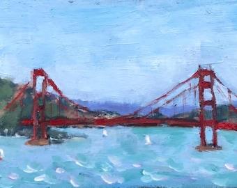 California Plein Air Landscape Oil Painting Original Wall Art San Francisco Bay Area Golden Gate Bridge California Artist USA Made Artwork