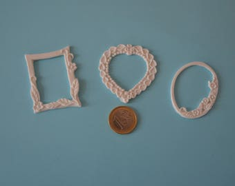 Set of 3 edible fondant frame. Cakes cupcakes cookies cakepops toppers and decoration