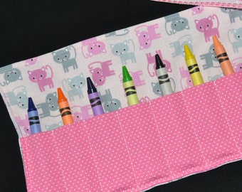 Cat Birthday Party Favor - Crayon Roll for girls - crayon storage cat themed birthday supplies - toddler Easter gift, kitty
